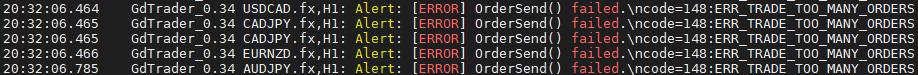 Error toward OrderSend