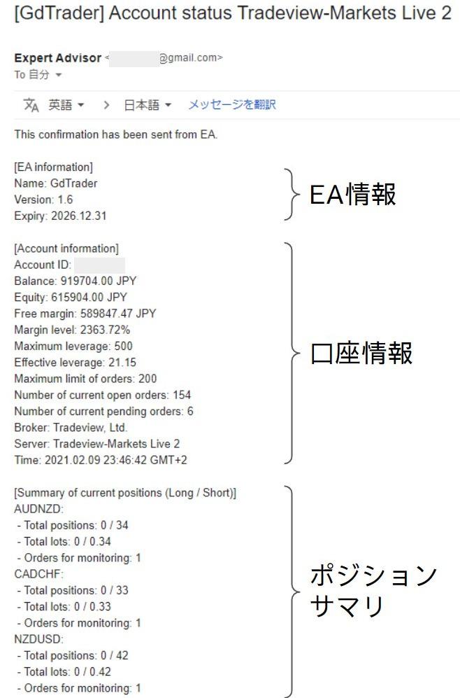 定刻通知メール(英語)